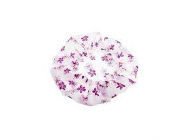 Шапочка для душа без кружева, белая с фиолетовыми цветами. Размер универсальный